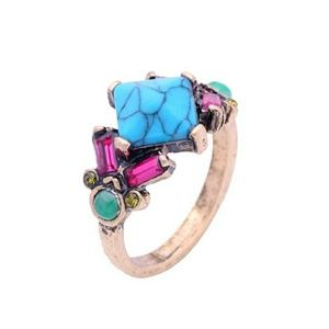 Blue Turquoise Crystal Vintage Statement Ring